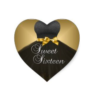 Sticker Heart Sweet 16 Sixteen Gold Black Dress
