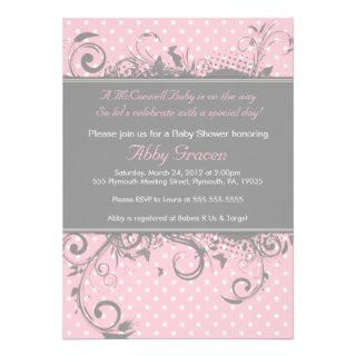 Pink Gray Girl Baby Shower Invite   Polkadot   756