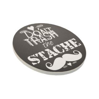 Dont Trash the Stache Mustache Retro Hipster Beverage Coasters