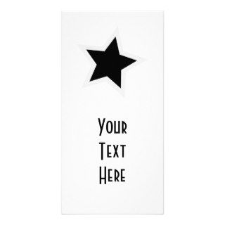 Black Star Bold White Outline Custom Photo Card