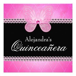 Butterfly Diamonds Pink Quinceanera Invitation
