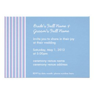 Blue Lilac White Stripes blue Wedding Program Custom Announcements
