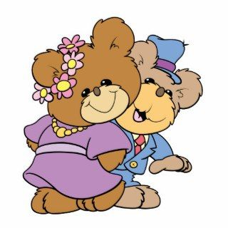still in love teddy bear couple design photo cut outs
