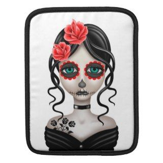 Sad Day of the Dead Girl on White iPad Sleeve