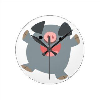 Cute Cartoon Bouncy Pig Wall Clock