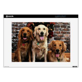 Christmas   Golden Retriever   Packer Bella Darby Decal For 15 Laptop