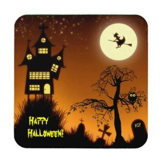 Creepy Haunted House Halloween Decorative Beverage Coaster