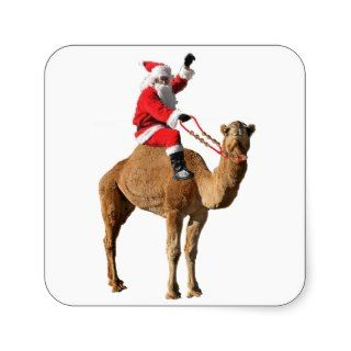 Christmas 2013 Hump Day Camel and Santa Square Stickers