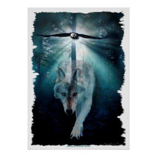 Wolf & Eagle Wildlife Art Poster