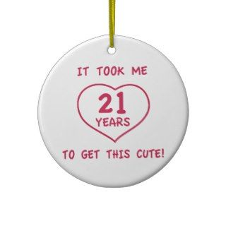 Funny 21st Birthday Gifts (Heart) Christmas Ornaments