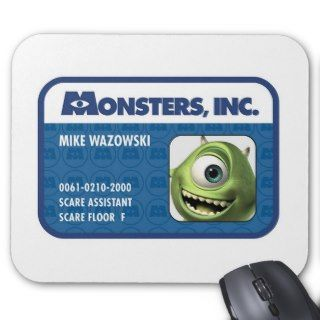 Monsters Inc. Mike Wazowski employee ID card Mousepads