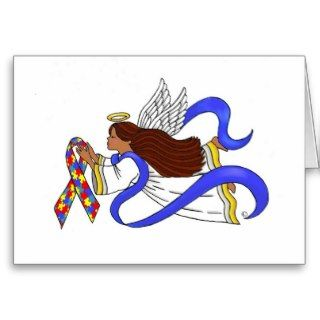 Autism Awareness Ethnic Angel Greeting Cards
