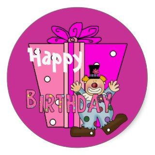 Happy Birthday Wishes Present Clown Round Stickers