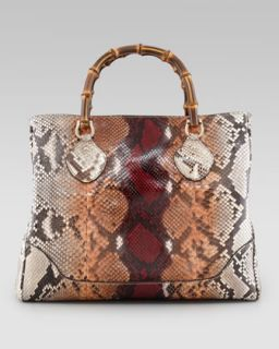 Gucci Diana Bamboo Handle Python Tote Bag