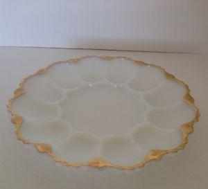 Anchor Hocking White Milk Glass Deviled Egg Serving Tray Plate Gold Trim