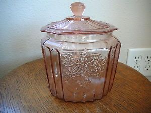 Mayfair Pink Depression Glass Cookie Jar Lid Old Original Anchor Hocking