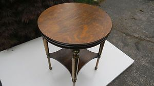 Antique Round Oak End Lamp Side Table with Brass Legs