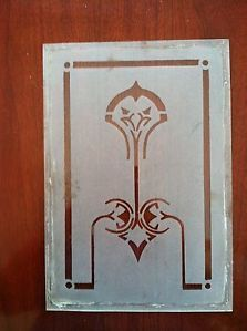 Vintage Antique Hoosier Cabinet Etched Glass Door Panel