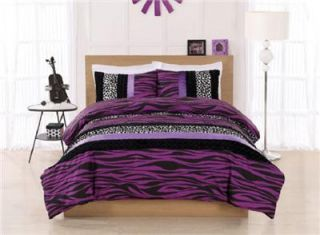 Full Size Teen Girls Purple Black White Zebra Animal Print Comforter Bedding Set