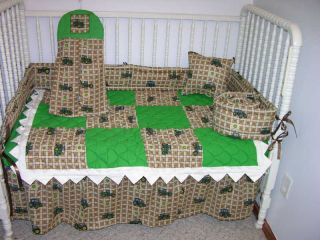 Crib Bedding Set Made w John Deere Tractor Plaid Toss Fabric Prairie Points
