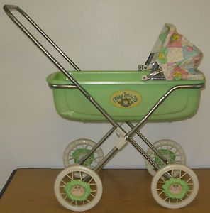 Vintage 1983 Cabbage Patch Kids Baby Stroller Buggy Rocker w Bedding
