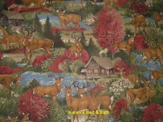 Wildlife Deer Forest Hunting Lodge Autumn Cabin River Woods Curtain Valance New