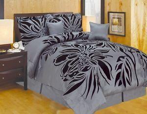 Octorose® Luxury Oversize Grey Black Queen Comforter Set Bedding in A Bag