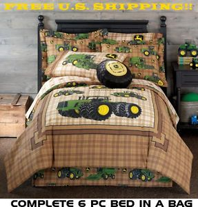 John Deere Farm Tractor 6pc Twin Size Comforter Sheet Sham Skirt Bed in Bag Set