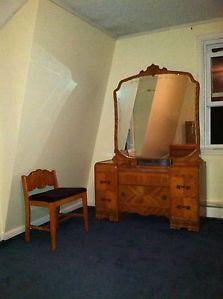 1920's 1940's Antique Bedroom Furniture Set Art Deco Waterfall Full Dressers