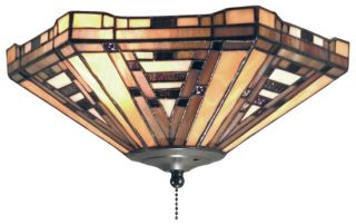 "Tiffany Style Stained Glass Ceiling Fan Light Kit 12"" W"