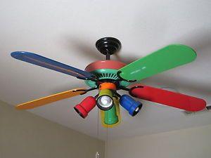 52 Vintage Hampton Bay Primary Colors Ceiling Fan 353 220 w Light Kit