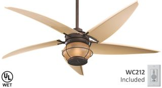 """Magellan 60"""" Tropical Outdoor or Indoor Ceiling Fan by Minka Aire F579 ORB"""