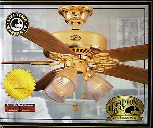 """Hampton Bay 52"""" Brass Ceiling Fan with Light Kit Rosewood Oak New in Box"""
