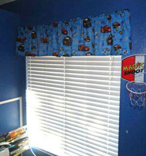 New Disney Pixar Cars Blue Window Curtain Valance Boys Room Lightening McQueen