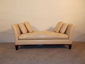 Baker Furniture Company Barbara Barry Leather Uphostered Daybed Chaise Lounge