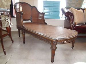 Country French Italian Carved Mahogany Cane Back Chaise Lounge Fainting Sofa