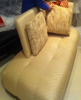 Dcota $5K Custom Made Beige Silk Chaise Sofa Lounge Pillows Gorgeous