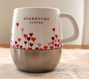 Starbucks Coffee 2007 Urban Mug Cup Valentine Heart Balloons Stainless Base