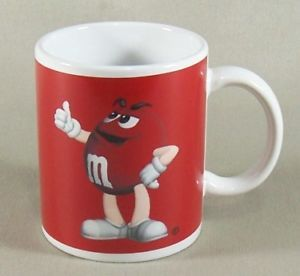M M's Chocolate Candy Character Mug Coffee Cup Red
