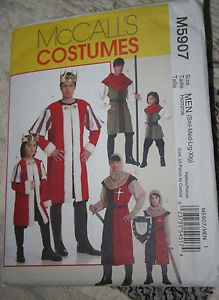 Men's King Peasant Knight Costume Pattern McCall 5907 Medieval Tunic Hood