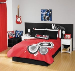 New Boys Red Black White Music Comforter Bedding Sheet Set Full 9 Pieces