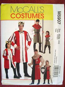 McCall's Medieval Style King Knights Costume Pattern 5907 Sz Kids 3 8