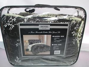 Hotel New York 3 Piece Quilted Comforter Bedding Set Queen Black Ivory
