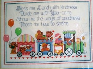 Dimensions Baby Counted Cross Stitch Teddy Bear Train Blessing New Kit
