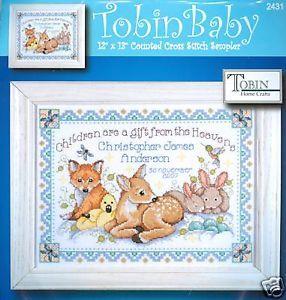 Tobin Cross Stitch Kit Woodland Baby Birth Record