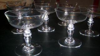 6 Antique Baccarat Crystal Champagne Stemware Glasses