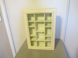 White Wood Glass Wall Hanging Shadow Box Shelf Curio Cabinet Display Case