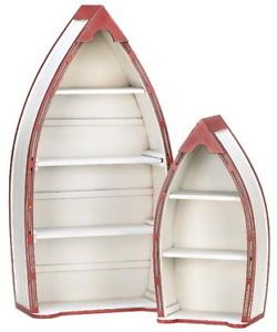 Nautical Cottage Country Chic Decor Set of 2 Rowboat Curio Cabinet Shelves