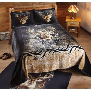 3pc Twin Full Whitetail Deer Buck Hunting Cabin Lodge Black Coverlet Bedding Set
