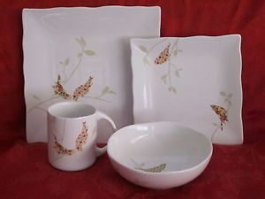 "222 Fifth ""Chintz Birds"" Floral Dinnerware Set 16pc Service for 4 New"